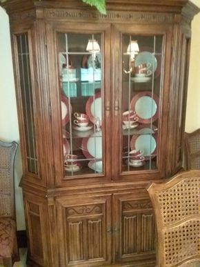Lot 028 Ethan Allen China Cabinet 77.5 x 14x  46 PICK UP IN GARDEN CITY