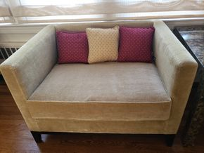 Lot 003 Upholstered Cube Arm Chair 27.625H x 41W x 31.5D includes 3 Dakota Decorative Pillows PICK UP IN GREAT NECK,NY