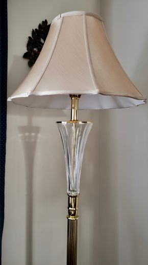 Lot 009 Glass Floor Lamp w/shade 66H 11W Base PICK UP IN WILLISTON PARK,NY