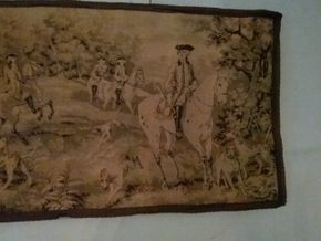 Lot 006 Hunting Scene Hanging Tapestry 19.5H x 55L PICK UP IN FLORAL PARK