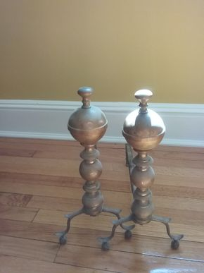 Lot 063 Brass Andirons 17 Inches Tall PICK UP IN OLD WESTBURY