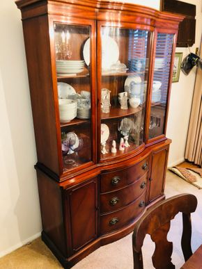 Lot 040 Mahogany China Cabinet 3 Drawers and Storage 72H x 51W x16D PICK UP IN RVC