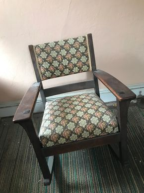 Lot 015 Arts and Crafts Wood Rocking Chair 32H x 24W x 27L PICK UP IN LYNBROOK