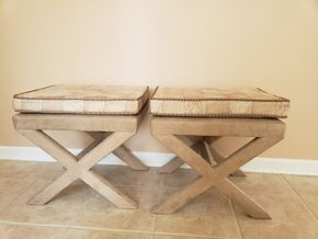 Lot 021  Lot of 2 X Benches with Upholstered Seats Approx. Dimensions 19.25H x 20.75W x 16.5L PICK UP IN EASTPORT,NY