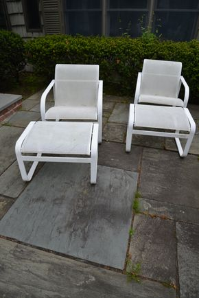 Lot 028 Pick Up /Delivery Lot of 2- Outdoor Chairs 32H x 24.6.25W x26.5L /2- Ottoman 16H x 24.875W x 21L PICK UP IN PORT WASHINGTON, NY