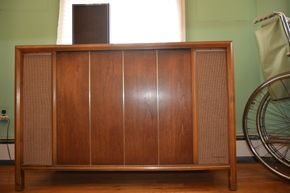 Lot 031 Magnavox Record Cabinet Contents Not Included 57L x 42W x 15D PICK UP IN LYNBROOK