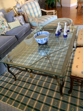 Lot 029 PETER PU Glass/Iron Decorative Coffee Table 3Ft w x 51in L x 18h PICK UP IN GARDEN CITY
