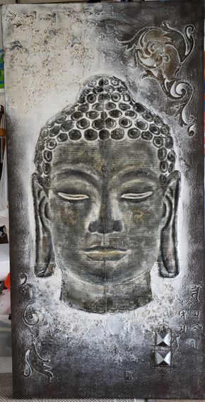 Lot 023 Large Mixed Media on Canvas of Buddha  79H x 39.25W PICK UP IN HEWLETT,NY