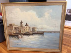Lot 033 Framed Oil On Board Signed Simonetti Some Wear to the Surface 33 x39 PICK UP IN NEW HYDE PARK