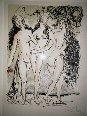 Lot 010 Framed  Salvador Dali Lithograph Title: Three Graces 238/300 Signed 28.25H x 21W PICK UP IN MINEOLA,NY