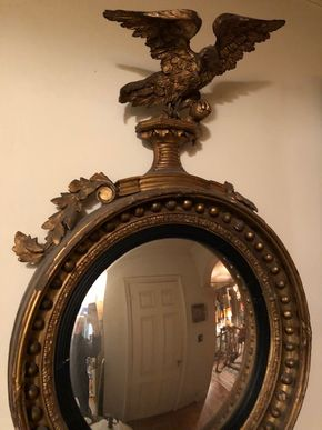 Lot 155 Federal Style Eagle Convex Mirror 45Hx25Wx4D