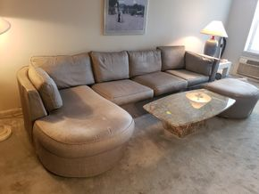 Lot 026 Sectional Sofa 35H x 101W x 37D  with Chaise 35H x 66W x 37D and Ottoman 18H x 36W x 28D As Is Condition some wear, some stains and pulls PICK UP IN  FOREST HILLS,NY