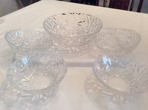 Lot 089 Tiffany Bowl Set 9 Inches Tall and 6 Inches Tall PICK UP IN GARDEN CITY