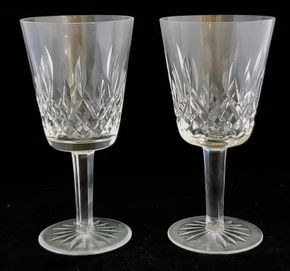 Lot 027 PU Lot of 2 Waterford Water Goblet Lismore Pattern  6.875H x 3.375W PICK UP IN CARLE PLACE,NY
