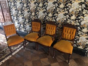 Lot 018 Lot of 4 Velvet Upholstered Victorian Chairs 39Tall x 19W PICK UP IN EAST MEADOW