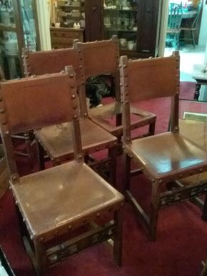 Lot 017 Lot Of 4 Spanish Colonial Style Leather and Wood  Chairs One Seat In need of Repair  As Is 36.5 X 16.5 x 17 PICK UP IN FLORAL PARK