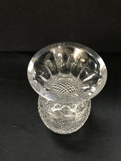 Lot 026 Vintage Waterford Crystal Flower Vase Pineapple Cut 7 Inches